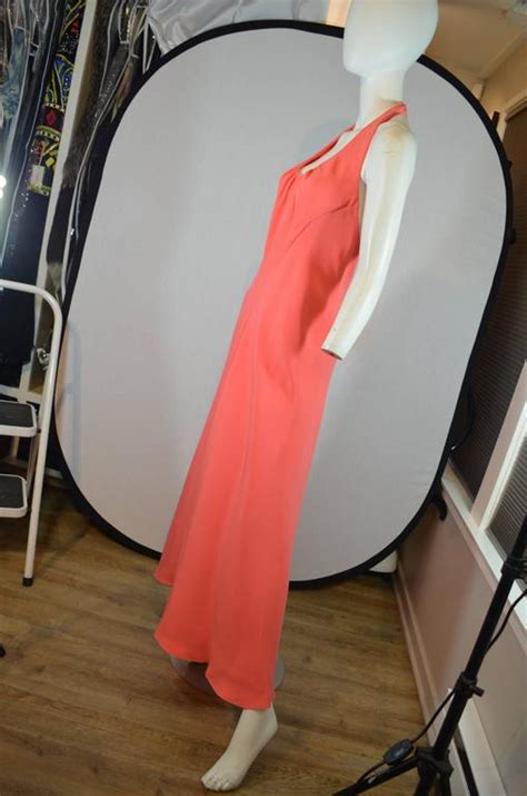 Halter Gown With Ciffon Cape stavropoulos coral halter gown with chiffon cape for sale