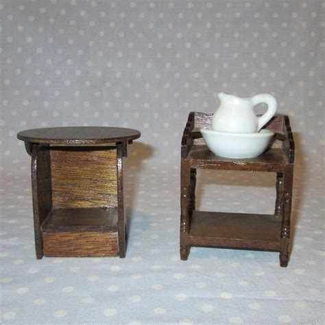 bedroom wash basin 2 pcs vintage doll house furniture miniature stained wood