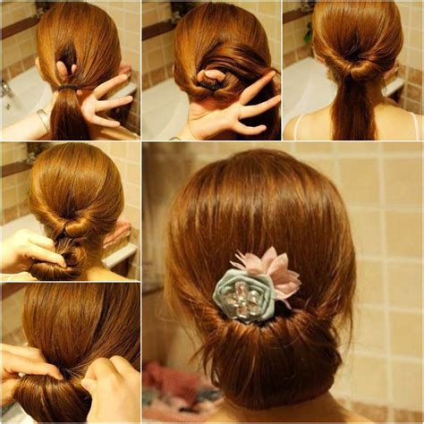diy easy twisted hair bun hairstyle home diy