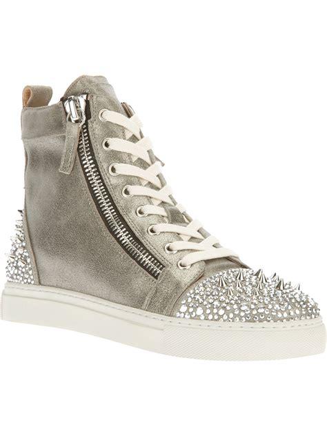 lola sneakers lola embellished hitop trainer in metallic lyst