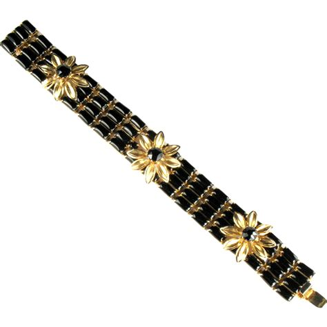 023d0brchoker Flower Bracelet Black weiss black rhinestone flower bracelet from
