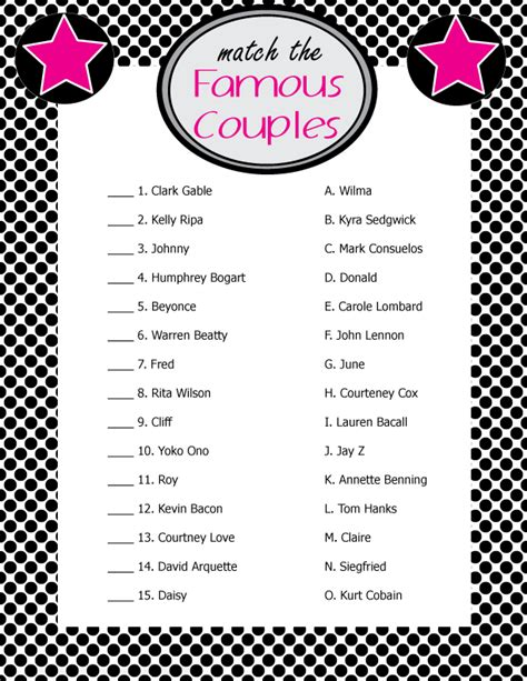 printable games for married couples famous couples bridal shower game print right from home