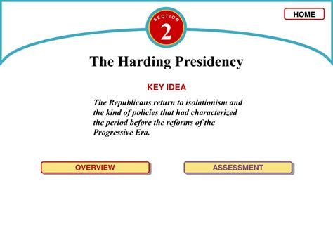 chapter 12 section 2 the harding presidency answers ppt c h a p t e r powerpoint presentation id 62079