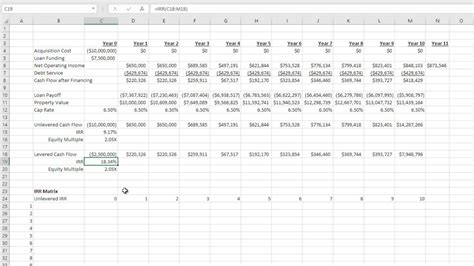 Build An Irr Matrix For Real Estate In Excel Youtube Real Estate Irr Excel Template