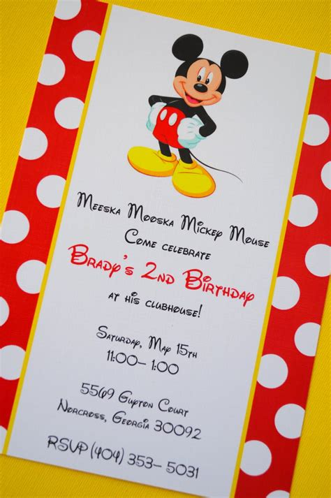 Birthday Invitation Card Mickey Mouse Mickey Mouse Birthday Invitations Ideas And Template