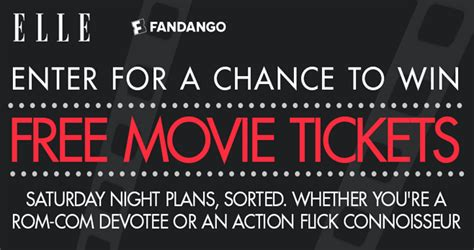 Elle Magazine Sweepstakes - elle and fandango are giving away 100 pairs of movie tickets want one