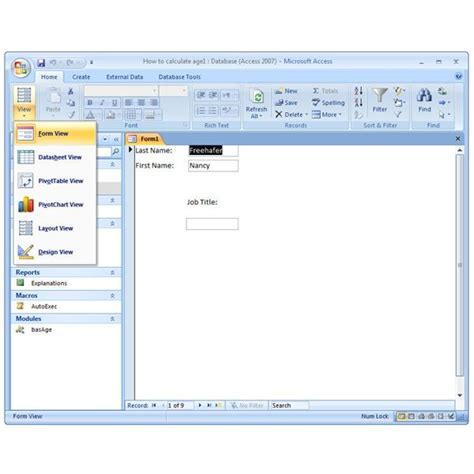 form design view microsoft access 2007 how to create a form manually in