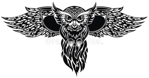 owl tattoo design stock vector illustration of style