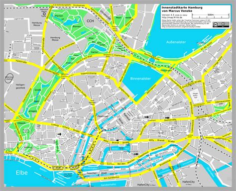 Hamburg Karte by Hamburg Stadtplan Reisef 252 Hrer Auf Wikivoyage