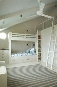 Gray And White Striped Bedding Built In Bunk Beds Cottage Boy S Room Benjamin Moore