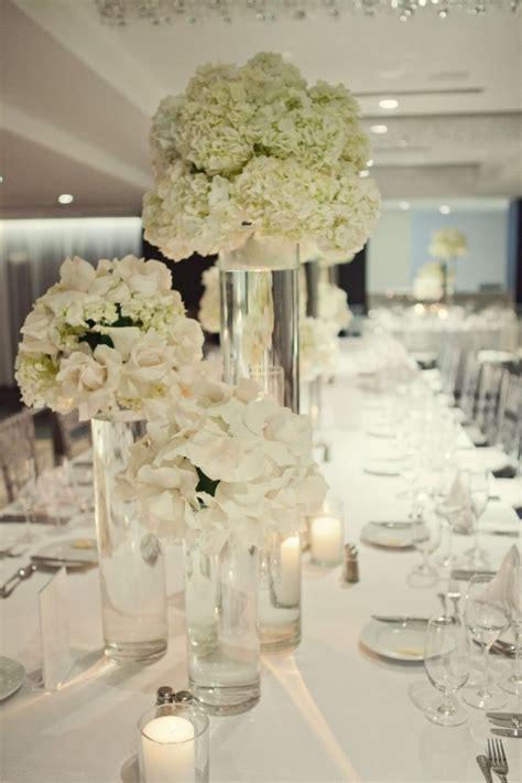White Wedding Flower Arrangements by White Modern Reception Wedding Flowers Wedding Decor