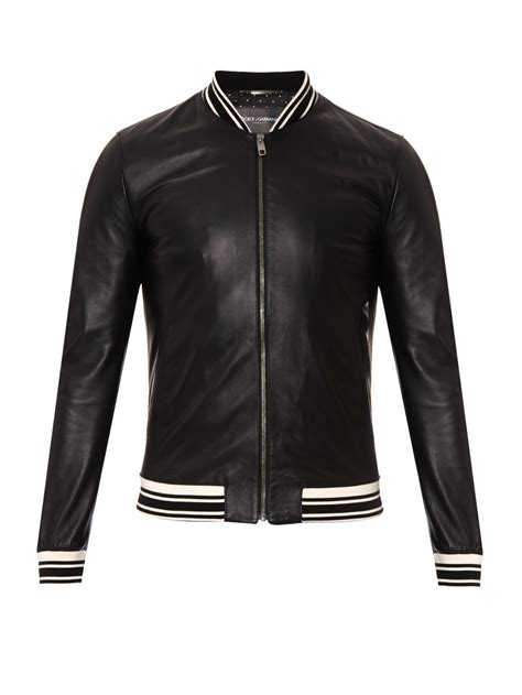 Jaket Black Brown Leather Style New Sk 57 lyst dolce gabbana leather bomber jacket in black for