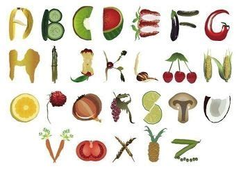 up letter with food fruit in shape of letters logo inspiration