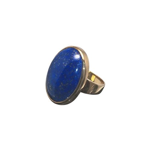 lapis large cabachon gold plated silver ring regnas jewelry