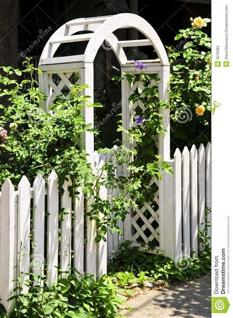 Garden Arbor White White Arbor In A Garden Stock Photography Image 6075082