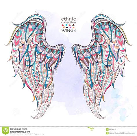 patterned wings stock vector image 68585810