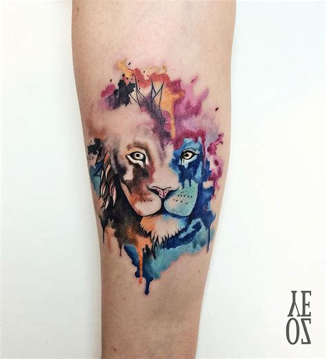 pretty lion watercolor piece best tattoo design ideas