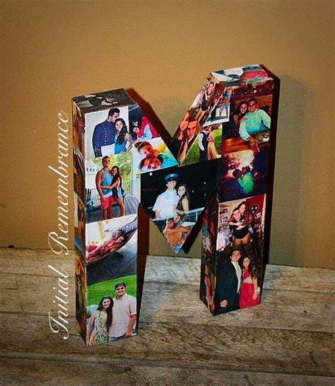 3D Picture Frame Photo letter collage Gift by InitialRemembrance