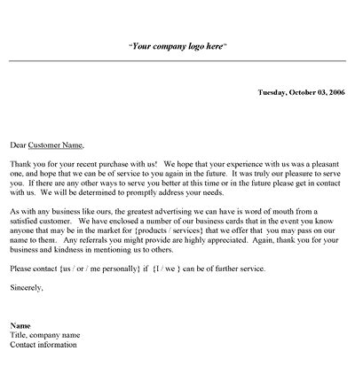 Thank You Letter Format For Business free business thank you letter template alternate