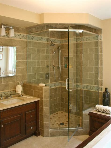 Bathroom Remodel Tile Shower Like The Shower With The Glass Tiles Traditional Bathroom Design Pictures Remodel Decor And