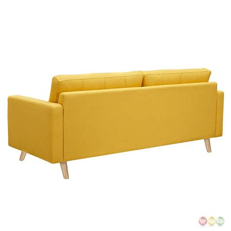 Uma Mid Century Modern Yellow Fabric Button Tufted Sofa W Yellow Tufted Sofa