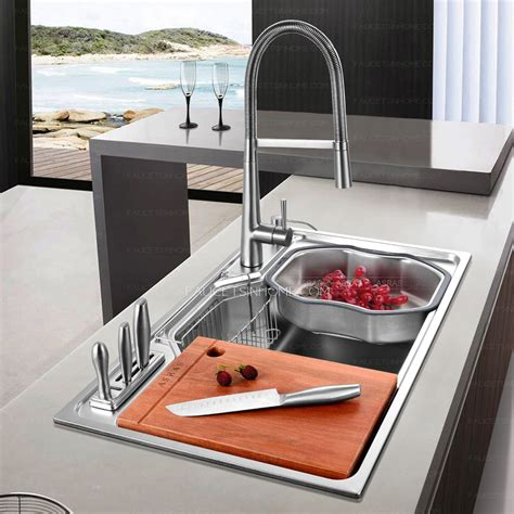 Big Kitchen Sinks Practical Large Capacity Single Bowl Stainless Steel Kitchen Sinks