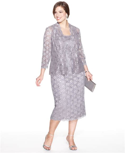 alex evenings plus size sequin lace dress and jacket in