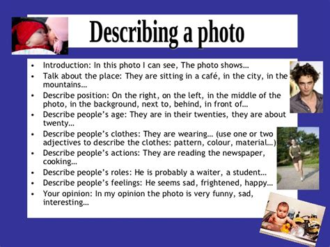 Photographer Description by Describing A Photo