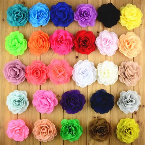 20pcs lot 20colors beautiful flower baby 8cm 28colors 20pcs lot chiffon fabric flower without