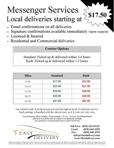 delivery flyer template 1 fast delivery courier pricing flyer new