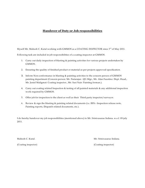 network handover document template handover of duty or responsibilities
