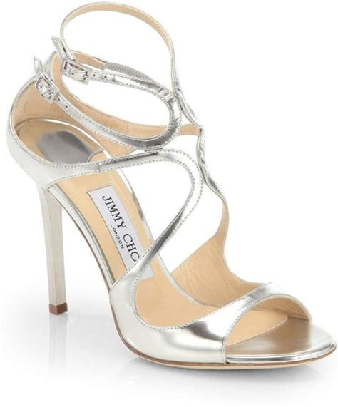 jimmy choo silver sandals jimmy choo lang strappy mirror leather sandals in silver
