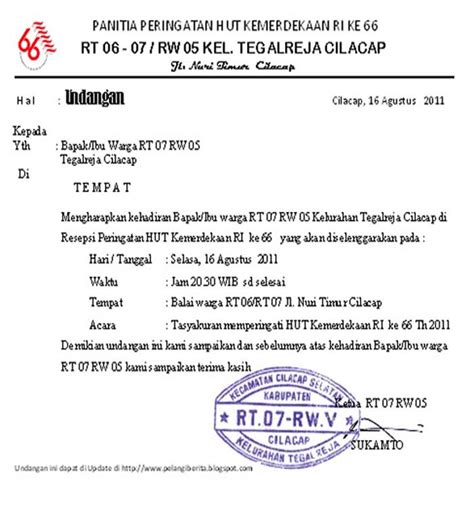 contoh surat undangan acara hut ri contoh isi undangan