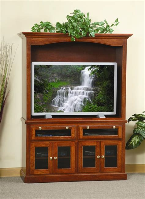 Glass Door Entertainment Center Amish Traditional Entertainment Center With Smoked Glass Doors
