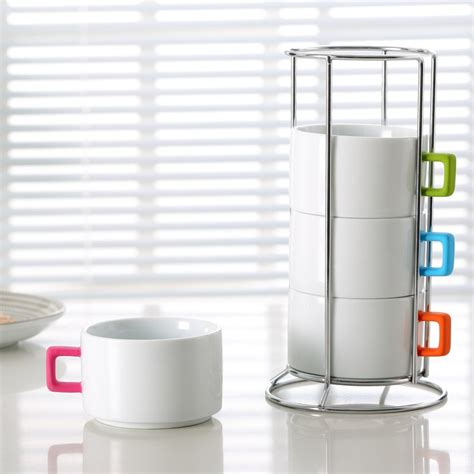 Stackable Coffee Mugs With Rack 280cc stackable coffee mugs with rubber coating handles