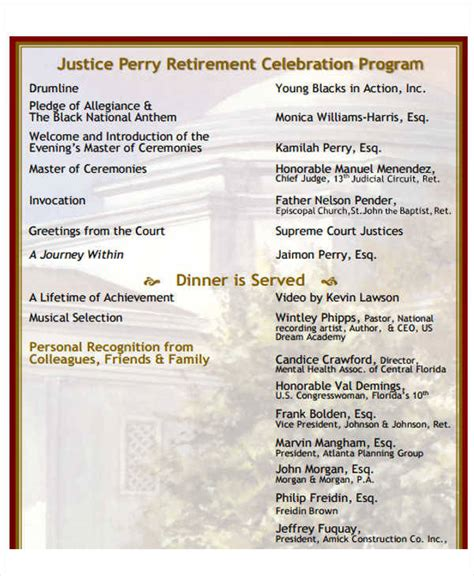 celebration of program template 7 retirement program sles templates in pdf