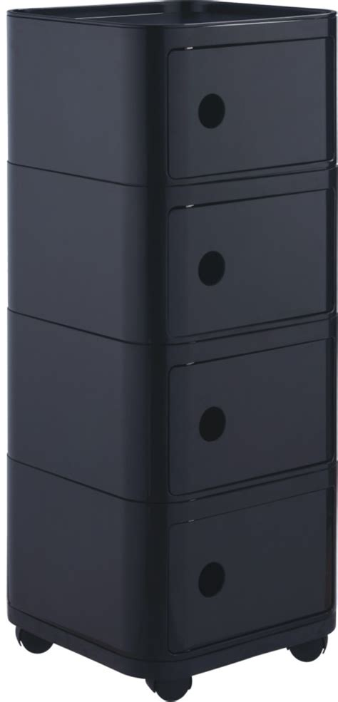 Black Plastic Drawers Modern Wheels Storage 4 Drawers Units Black Plastic Square