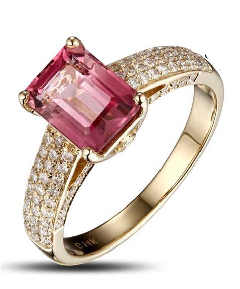 carat pink sapphire  diamond halo engagement ring  yellow gold