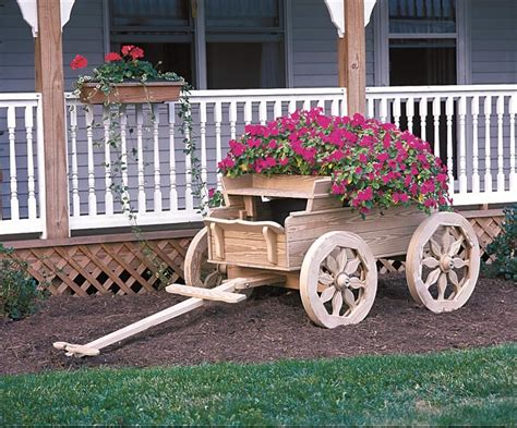 wooden wagon planter amish wooden buckboard planter large