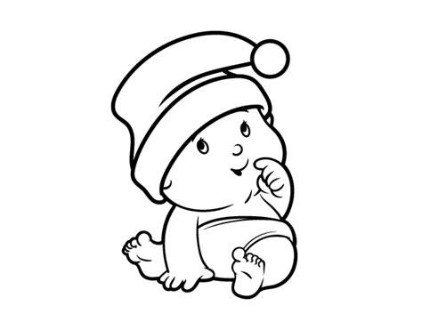 como dibujar a santa claus dibujos de navidad para dibujo de beb 233 con gorro de santa claus para colorear