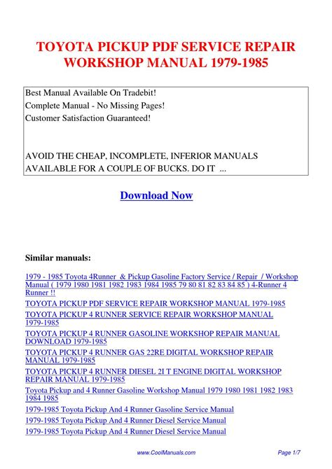 1985 toyota pickup truck 4runner repair shop manual original gasoline toyota pickup service repair workshop manual 1979 1985 pdf by linda pong issuu