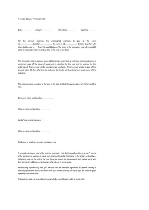 secured promissory note template download free premium