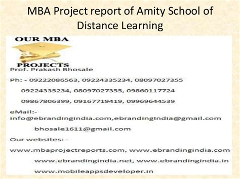 Amity Distance Learning Mba Syllabus by Mba Project Report Of Amity School Of Distance Learning