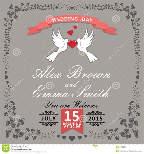 wedding invitation card cover design cute wedding invitation floral items and cartoon pigeons