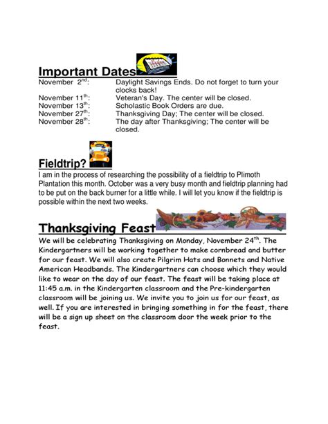 november newsletter template kindergarten november newsletter free
