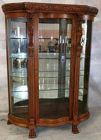 Oak Curved Glass China Cabinet, Carved Griffins from robertsantiques on Ruby Lane
