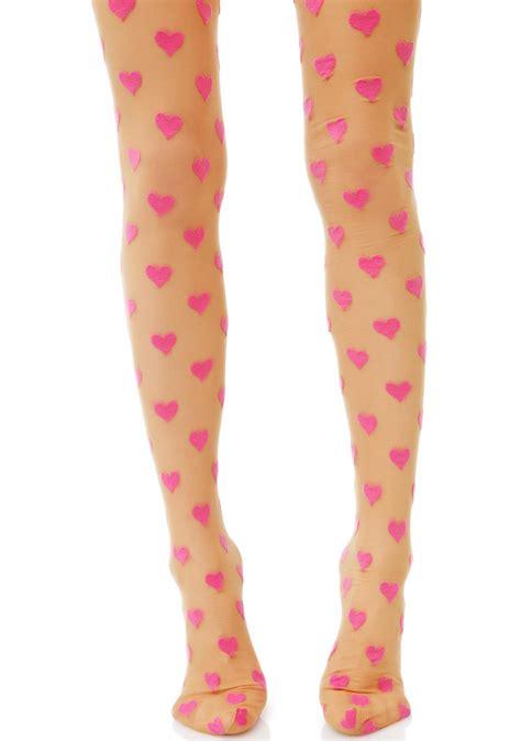 sheer pink printed tights dolls kill