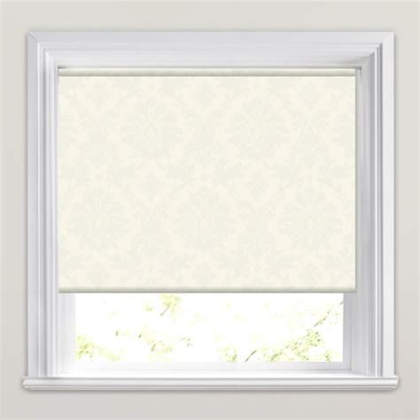 white patterned roller blind shimmering silvery cream white damask patterned roller