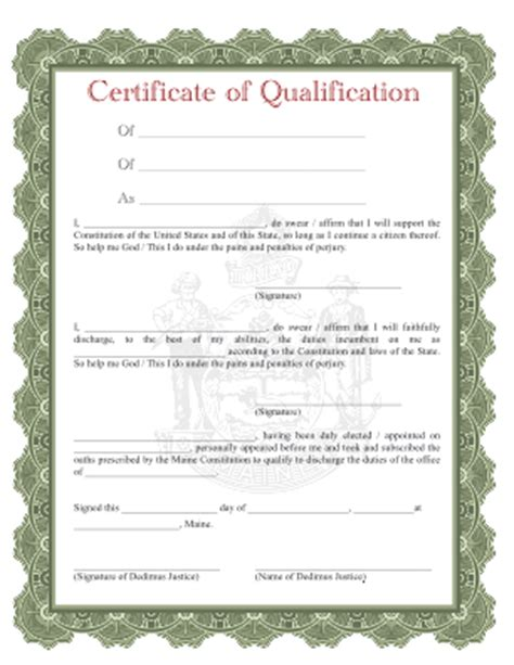 dedimusjustice org blank certificate of qualification