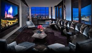 Modern Dining Room Buffet Las Vegas Penthouse Suites The One Eighty Suite Red